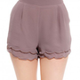 Scallop Hem Play Shorts in Mocha