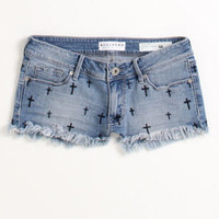 Bullhead Fray Hem Cross Embroidery Shorts at PacSun.com