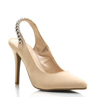 Chain-Slingback-Pointy-Toe-Pumps BLACK BROWN NUDE - GoJane.com