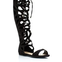 Teardrop-Faux-Suede-Sandals BLACK TAN - GoJane.com