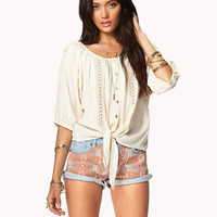 Crochet Lace Peaseant Top | FOREVER 21 - 2047428144