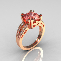 Etsy Transaction -          Modern Vintage 18K Rose Gold 3.0 Carat Morganite Diamond Solitaire Ring R102-18KRGDMO