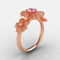 Etsy Transaction -          Natures Nouveau 14K Rose Gold Light Pink Sapphire Diamond Flower Engagement Ring NN107S-14KRGDLPS