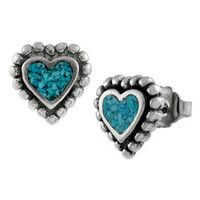 Tressa Sterling Silver Turquoise Heart Stud Earrings | Overstock.com
