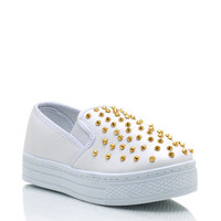 spiked-faux-leather-flatforms BLACK CORAL MINT WHITE - GoJane.com