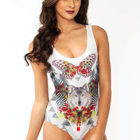 Graphic-Butterfly-Wolf-Bodysuit WHITERED - GoJane.com