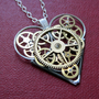 "Clockwork Heart Necklace ""Emotarium"" Steampunk Heart Pendant Love Sculpture A Mechanical Mind Wearable Art Mechanical Gear Heart"