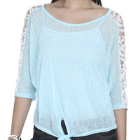 Lace Shoulder Tie Tee | Shop Just Arrived at Wet Seal