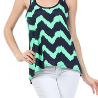Mint Zig Navy Zag top