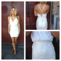 Ivory Sleeveless Mini Dress with Chevron Sequin Skirt
