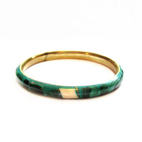 Brass Malachite Mother of Pearl Inlay Bangle Bracelet