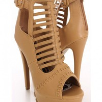 Camel Faux Leather Strappy Heels