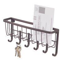 InterDesign York Lyra Wall Mount Mail and Key Rack