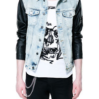 COMBINATION BLEACHED DENIM JACKET - Jackets - Man - ZARA United States