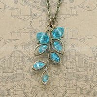 Vintage style necklace with aqua blue crystal by luckyvicky