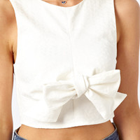 ASOS Crop Top In Jacquard With Bow Front at asos.com