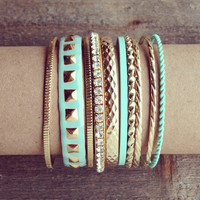 Pree Brulee - Roman Gold Mint Bangle Set