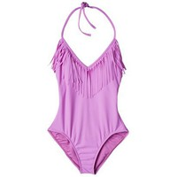 Junior's 1-Piece Swimsuit w/ Fringe Detail -Lilac