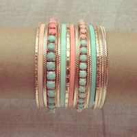 Pree Brulee - Mint & Peach Bangle Set