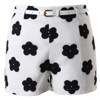 Floral Print Shorts with Belt