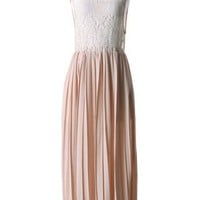 Floral Lace Pleated Maxi Dress in Peach