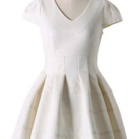 Floral Embossing Dress in White