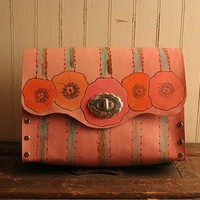 Pink Poppy Purse - Leather in Pink, Orange, Sage, Brown and more PINK | moxieandoliver - Bags & Purses on ArtFire