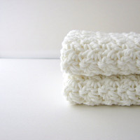 Crochet Washcloths White Eco Friendly Cotton Face by MyHobbyShop