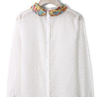 Peter Pan Collar Mesh Blouse in White