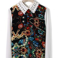 Diamond Star Collar Jewelry Print Shirt