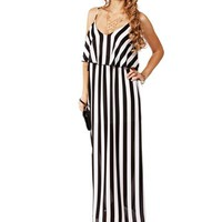 BlackWhite Stripe Chiffon Maxi Dress