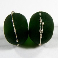 Lampwork Beads Transparent Sage Green Handmade Glass Beads Fine Silver