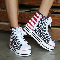 Flag-S American Flag Platform Sneakers BLUE MULTI — Feetomatic By AutoSquad Girlz
