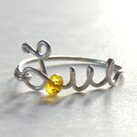 uppercase love wire ring  yelow crystal faceted  by keoops8