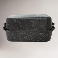 "Black Graniteware 21"" Covered Rectangle Roaster 