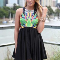 Black Sleeveless Dress with Fitted Print Bodice Top