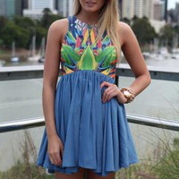 Blue Sleeveless Dress with Fitted Print Bodice Top