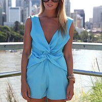 Blue Sleeveless Playsuit with Deep V-Front and Back