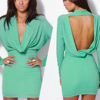 Lovely Green Couture Draped Long Sleeve Dress