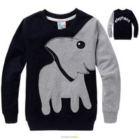 Elephant Pattern Round Neck Tee for Kids