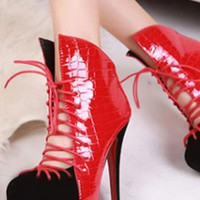 Ladies Lace Front Cut Colour High Ankle Evening Shoes