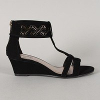 Qupid Amor-128X Perforated T-Strap Open Toe Wedge
