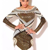 Egyptian Print White Gold Off Shouder Bodycon Dress