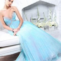 A-line Sweetheart Floor-length Beading Organza Ice Blue Military Ball Dresses [10129239] - US$127.99 : DressKindom