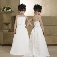 Cute A-line Straps Floor-length Satin White Flower Girl Dresses [10106728] - US$88.99 : DressKindom