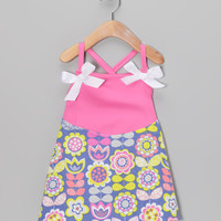 Neon Green & Soft Purple Garden Crisscross Strap Dress - Infant