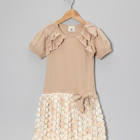Tan & Ivory Rosebuds Drop-Waist Dress - Toddler & Girls