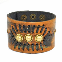 Brown leather wrist bracelet leather woven cuff bracelet bronze Round pearl cuff men's bracelet women cuff charm bracelet for gifts d-366