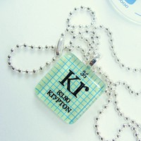 Krypton Glass Periodic Table Tile Necklace  Light by ShopGibberish