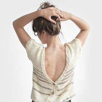 Cotton Spring Cardigan / Hand Knitted